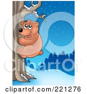Royalty Free RF Clipart Illustration Of A Bear Climbing A Tree On A Winter Night by visekart