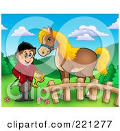 Royalty Free RF Clipart Illustration Of A Jockey Holding A Trophy By His Horse by visekart