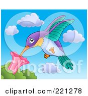 Royalty Free RF Clipart Illustration Of A Hummingbird Extracting Nectar From A Flower