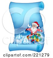 Royalty Free RF Clipart Illustration Of Santa Surrounded By Gifts On A Frozen Blue Parchment Scroll Page