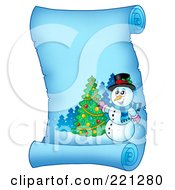 Royalty Free RF Clipart Illustration Of A Snowman Decorating A Tree On A Frozen Blue Parchment Scroll Page