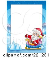 Royalty Free RF Clipart Illustration Of A Christmas Frame Border Of Santa In A Sleigh With A Winter Landscape Around White Space