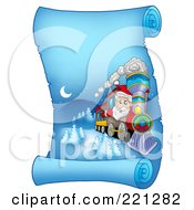Royalty Free RF Clipart Illustration Of Santa Operating A Train On A Frozen Blue Parchment Scroll Page