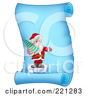 Royalty Free RF Clipart Illustration Of Santa Standing On Ice And Holding A Tree On A Frozen Blue Parchment Scroll Page
