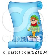 Royalty Free RF Clipart Illustration Of A Christmas Elf Standing On Ice On A Frozen Blue Parchment Scroll Page