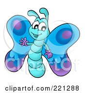 Royalty Free RF Clipart Illustration Of A Cute Waving Blue Butterfly