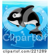 Royalty Free RF Clipart Illustration Of A Cute Orca Whale Swimming In The Blue Sea