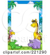 Border Frame Of A Vulture Alligator Hippo And Giraffe Around White Space
