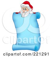 Royalty Free RF Clipart Illustration Of Santa Looking Over A Frozen Blue Parchment Scroll Page