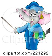 Royalty Free RF Clipart Illustration Of A Professor Elephant Using A Pointer Stick