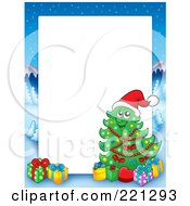 Royalty Free RF Clipart Illustration Of A Christmas Frame Border Of A Winter Landscape And Christmas Tree Around White Space 3