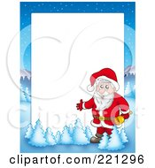Royalty Free RF Clipart Illustration Of A Christmas Frame Border Of Santa Holding A Bell With A Winter Landscape Around White Space