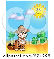 Royalty Free RF Clipart Illustration Of A Cat Wearing A Hat By Cactus Plants In The Desert