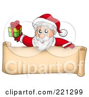 Royalty Free RF Clipart Illustration Of Santa Holding A Present Over A Blank Parchment Banner