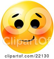 Clipart Illustration Of A Yellow Emoticon Face With A Bashful Expression And Blushing Red Cheeks