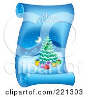 Royalty Free RF Clipart Illustration Of A Christmas Tree And Merry Christmas Greeting On A Frozen Blue Parchment Scroll Page 2