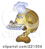 Royalty Free RF Clipart Illustration Of A Carp Fish Chef Serving Worms On A Tray