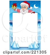 Royalty Free RF Clipart Illustration Of A Christmas Frame Border Of Santa Holding A Gift With A Winter Landscape Around White Space