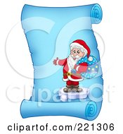 Royalty Free RF Clipart Illustration Of Santa Standing On Ice And Holding A Sack On A Frozen Blue Parchment Scroll Page