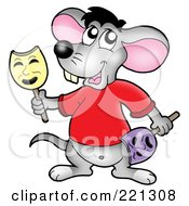Royalty Free RF Clipart Illustration Of A Cute Gray Mouse Holding Face Masks by visekart