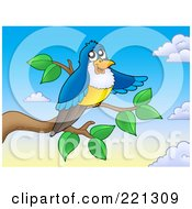 Royalty Free RF Clipart Illustration Of A Blue Bird Pointing With His Wing And Perched On A Branch