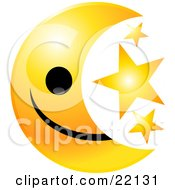 Yellow Moon Emoticon Face With Three Golden Stars