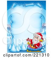Royalty Free RF Clipart Illustration Of Santa In A Sleigh By A Frozen Blue Parchment Sign With Snow Flocked Trees