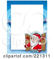 Royalty Free RF Clipart Illustration Of A Christmas Frame Border Of Santa In A Window With A Winter Landscape Around White Space