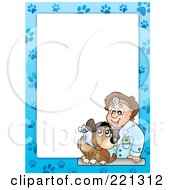 Royalty Free RF Clipart Illustration Of A Frame Of A Male Vet And A Dog With Paw Prints Around White Space 1 by visekart