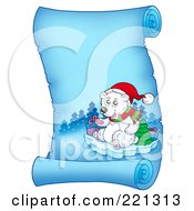 Royalty Free RF Clipart Illustration Of A Christmas Polar Bear On A Frozen Blue Parchment Scroll Page