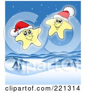 Royalty Free RF Clipart Illustration Of Two Happy Christmas Stars Wearing Santa Hats Over A Winter Landscape