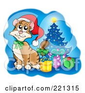 Royalty Free RF Clipart Illustration Of A Cute Christmas Cat By Presents And A Tree Over Blue