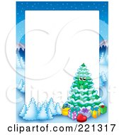 Royalty Free RF Clipart Illustration Of A Christmas Frame Border Of A Winter Landscape And Christmas Tree Around White Space 2