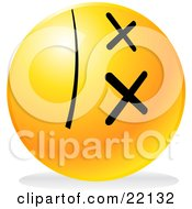 Clipart Illustration Of A Yellow Emoticon Face With Crossed Out Eyes Lying On Its Side With A Shadow Symbolizing Death by Tonis Pan
