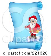 Royalty Free RF Clipart Illustration Of Santa Standing On Ice And Holding A Bell On A Frozen Blue Parchment Scroll Page
