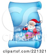 Royalty Free RF Clipart Illustration Of Santa Snowmobiling On A Frozen Blue Parchment Scroll Page