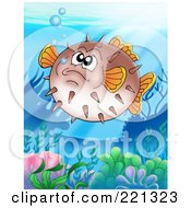 Royalty Free RF Clipart Illustration Of A Grumpy Puffer Fish Above A Coral Reef by visekart