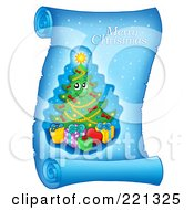 Royalty Free RF Clipart Illustration Of A Christmas Tree And Merry Christmas Greeting On A Frozen Blue Parchment Scroll Page 1