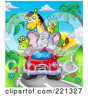Royalty Free RF Clipart Illustration Of A Car Full Of African Animals Driving On A Windy Road