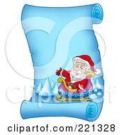 Royalty Free RF Clipart Illustration Of Santa In His Sleigh On A Frozen Blue Parchment Scroll Page