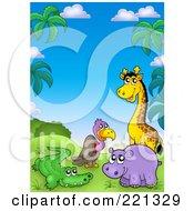 Giraffe Hippo Vulture And Alligator In A Tropical Landscape