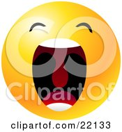 Clipart Illustration Of A Yellow Emoticon Face With His Mouth Wide Open Showing His Uvula Symbolizing Frustration And Annoyance by Tonis Pan