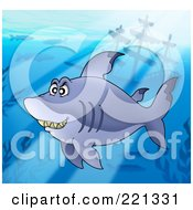 Royalty Free RF Clipart Illustration Of A Chubby Shark Swimming Near A Sunken Ship With Rays Of Sunshine