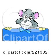 Royalty Free RF Clipart Illustration Of A Gray Cat Looking Over A Blank Blue Sign