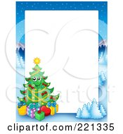 Royalty Free RF Clipart Illustration Of A Christmas Frame Border Of A Winter Landscape And Christmas Tree Around White Space 1