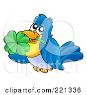 Royalty Free RF Clipart Illustration Of A Blue Bird Holding A Clover In His Mouth by visekart