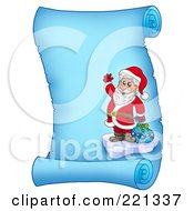Royalty Free RF Clipart Illustration Of Santa Standing On Ice By A Bag And Waving On A Frozen Blue Parchment Scroll Page