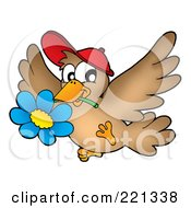 Royalty Free RF Clipart Illustration Of A Brown Bird Wearing A Hat And Carrying A Blue Daisy