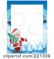 Royalty Free RF Clipart Illustration Of A Christmas Frame Border Of Santa Carrying A Tree With A Winter Landscape Around White Space