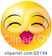 Yellow Emoticon Face Lady With Eyelashes And Pink Lips Puckering Up For A Kiss